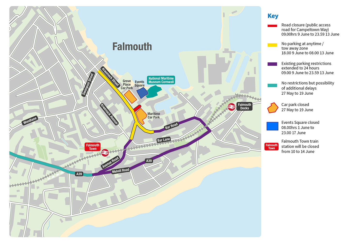 Map of access and diversion routes for G7 summit in Falmouth.