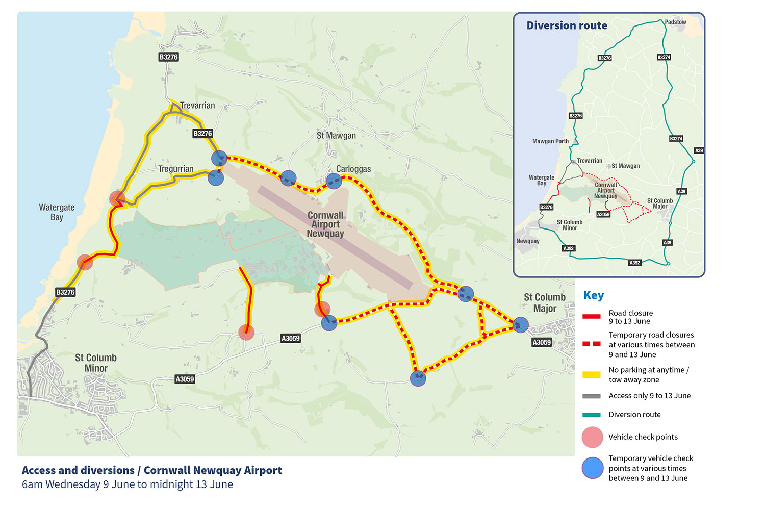 Map of access and diversion routes for G7 summit in Newquay