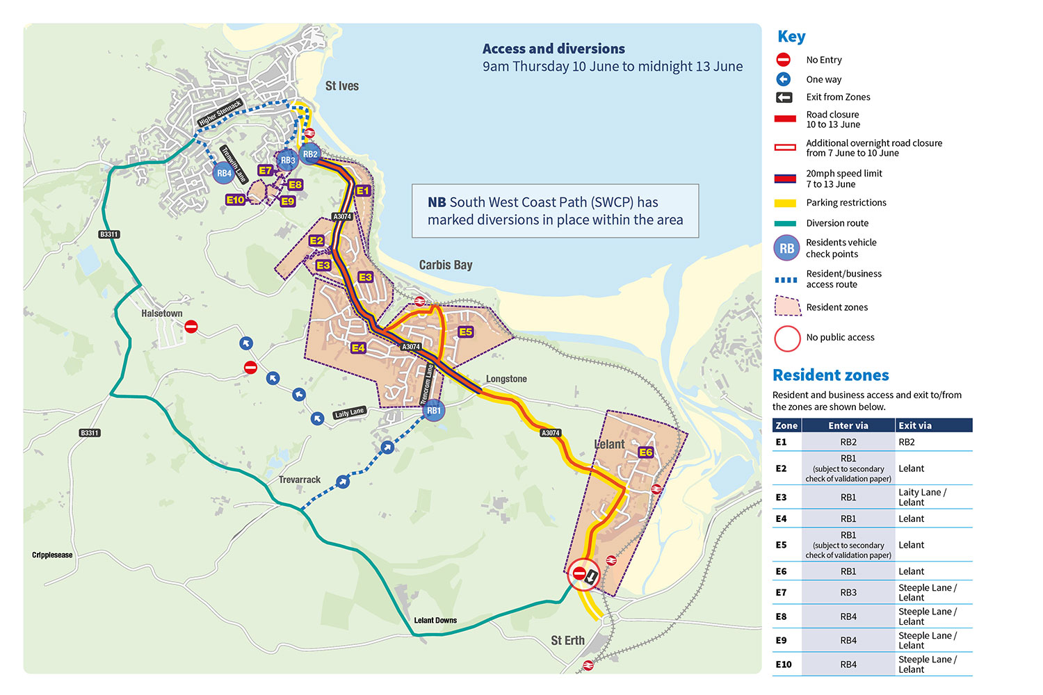 Map of access and diversion routes for G7 summit in St Ives.