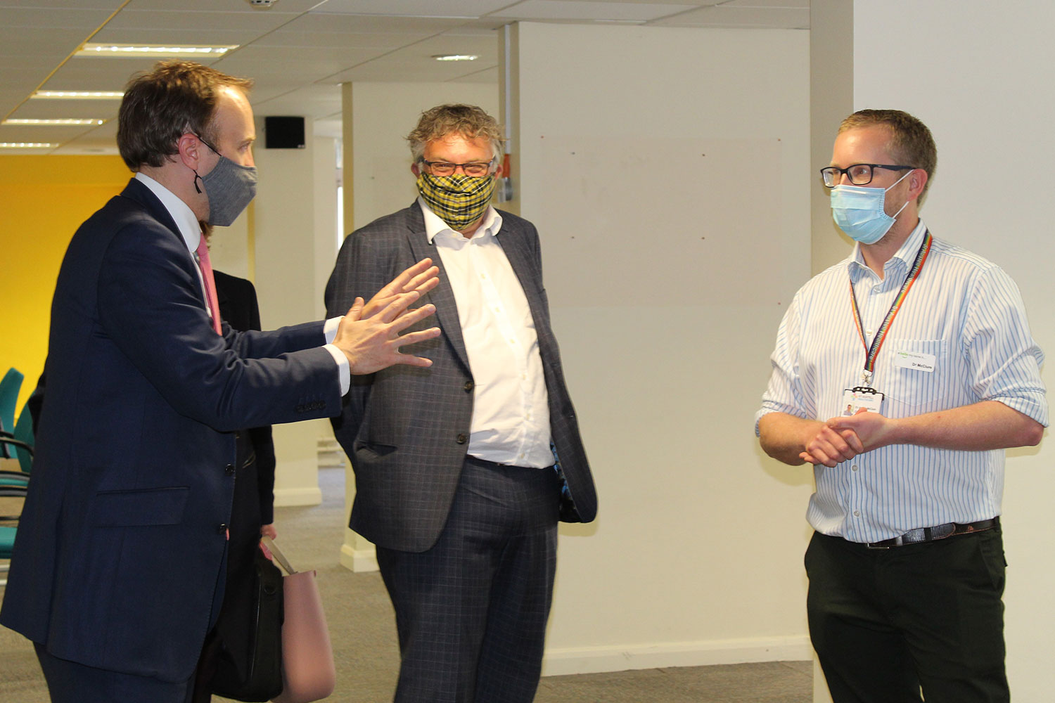 Matt Hancock with MP Steve Double and Dr James McClure, from St Austell Healthcare