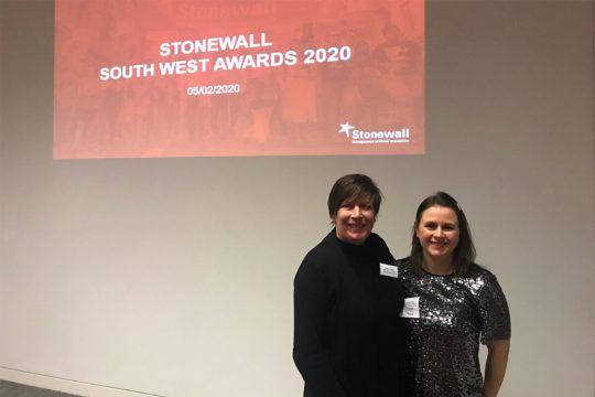 Helen Childs and Rachel Tofts attending the 2020 Stonewall Awards ceremony